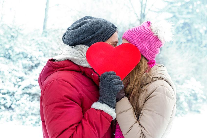 51071388 - winter valentine couple in ice landscape